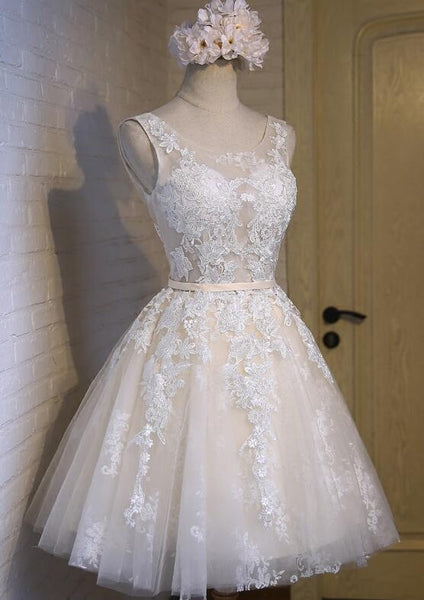 Lovely Ivory Short Tulle with Lace Detail Party Dress 2018, Cute Formal Dresses, Teen Formal Dresses