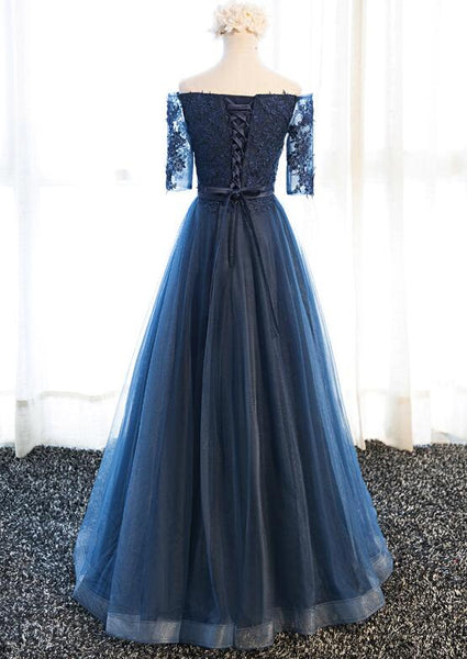 Blue Prom Gowns, Short Sleeves Tulle Navy Blue Formal Dress, Lovely Party Dresses