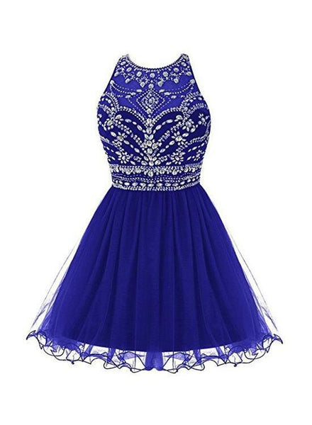 Royal Blue Homecoming Dress 2018, Tulle Beaded Party Dress, Cute Party Dress