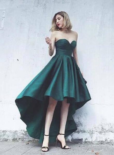 Dark Green High Low Homecoming Dress 2018, Sweetheart Party Dress, Satin Fashionable Formal Dress