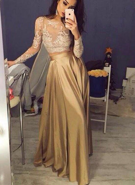 Two Piece Party Dress with Long Sleeves, Lace and Satin Formal Gowns, Gold Formal Dresses