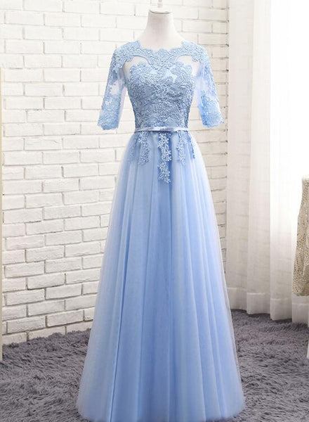 Light Blue Short Sleeves Lace Wedding Party Dresses, Blue Bridesmaid Dresses, Formal Dress