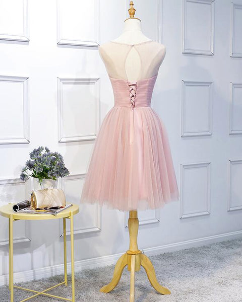 Light Pink O-neckline Beaded Cute Party Dress, Pink Short Formal Dress 2018
