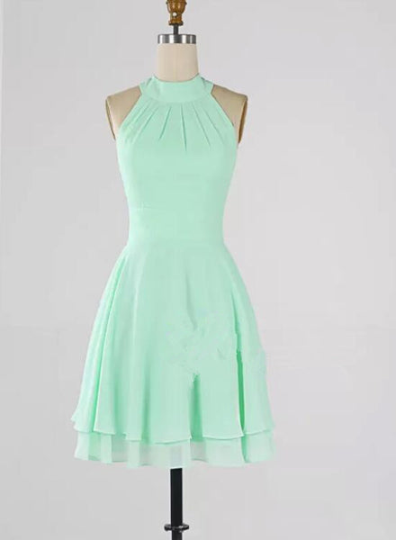 Mint Green Chiffon Halter Knee Length Bridesmaid Dress 2018, Wedding Party Dresses