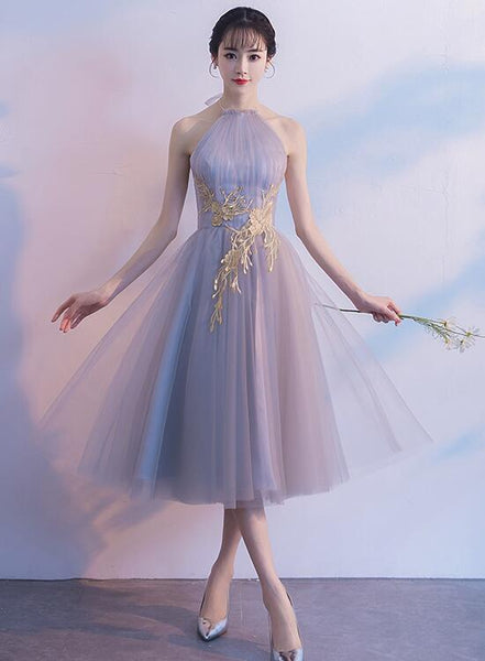 Halter Tulle Tea Length Party Dresses, Lovely Vintage Formal Dress, Homecoming Dress with Applique
