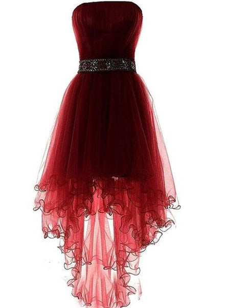 Dark Red High Low Formal Dress with Beaded Belt, High Low Formal Dress, Tulle Party Dresses