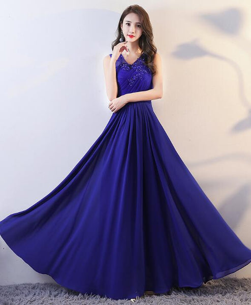 Royal Blue Chiffon V-neckline Long Party Dress with Applique, Elegant Formal Dress, Blue Long Prom Dress