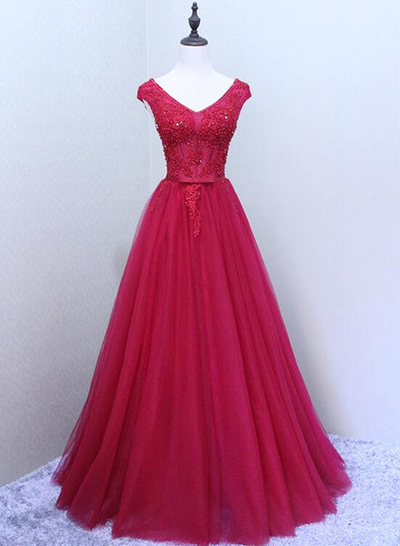 Red V Back Beaded Lace-up with Applique Gorgeous Party Dress, Pretty Formal Dress, Dark Red Party Dress