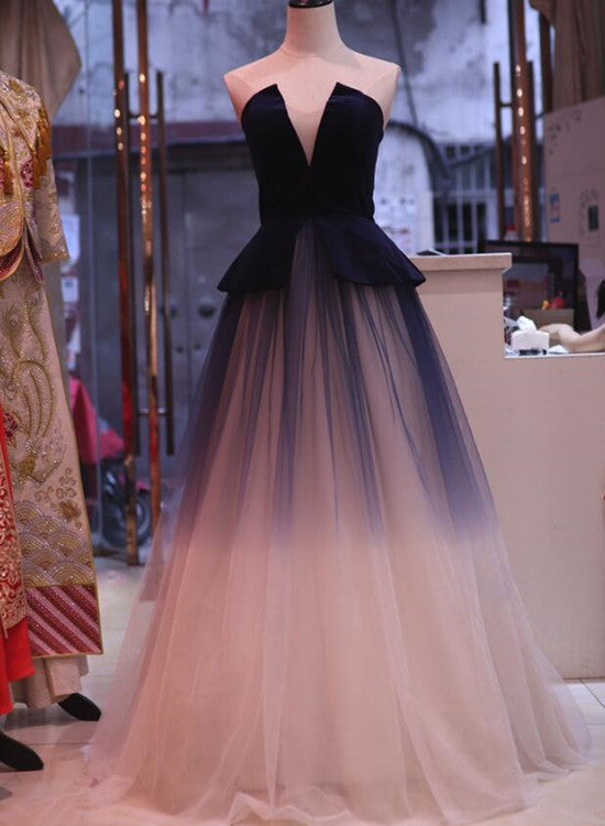 Gorgeous Gradient Tulle With Velvet Lace Up Ball Gown Party Dresses