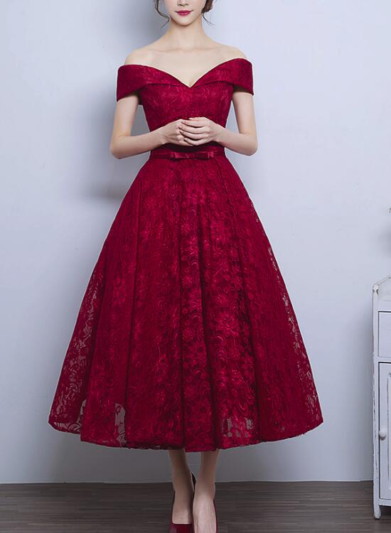 Wine Red Lace High Quality Tea Length Off Shoulder Evening Party Dress 0a76db84e