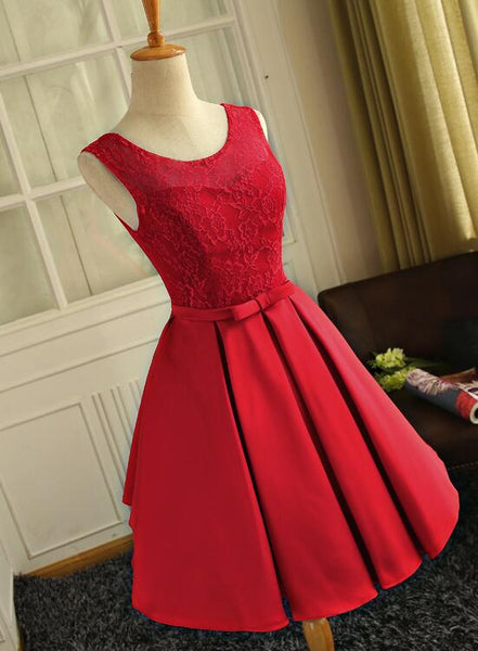 Cute Red Satin Round Neckline Party Dresses, Satin Homecoming Dresses, Short Prom Dress 2019