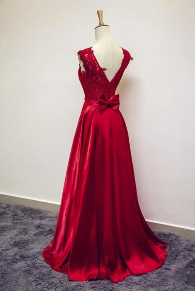 Beautiful Red Satin Lace Applique Long Party Dress, Long Formal Dresses, Red Prom Dresses