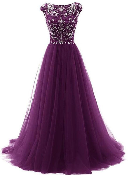 Tulle Beaded Dark Purple Long Formal Dresses, Gorgeous Formal Gowns, Prom Dress 2019