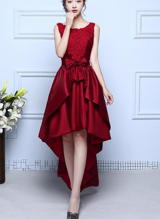 f9cd92fa3c0 Wine Red Satin and Lace High Low Homecoming Dress 2018