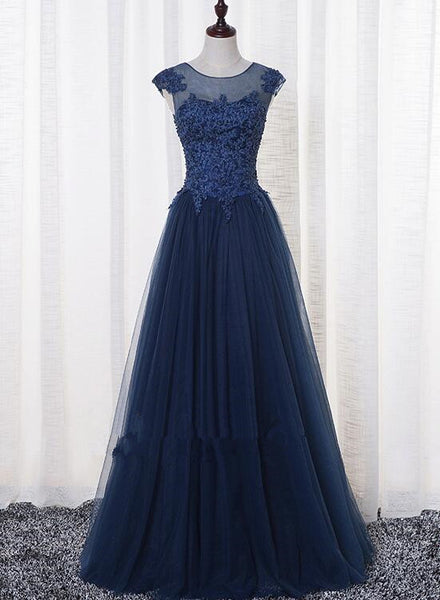 Beautiful Handmade Navy Blue Prom Dresses 2019, Long Round Neckline Party Dresses