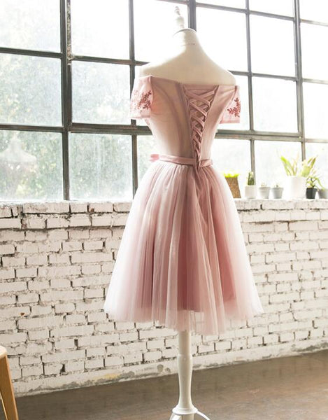Dark Pink Off Shoulder Knee Length Bridesmaid Dresses, Cute Wedding Party Dresses