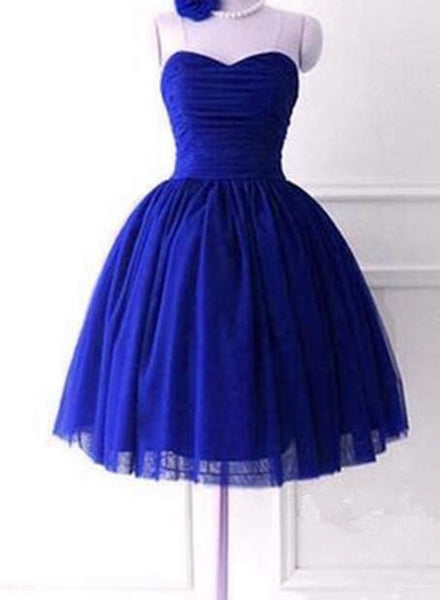 Royal Blue Sweetheart Cute Short Ball Homecoming Dresses, Blue Homecoming Dresses, Party Dress 2019