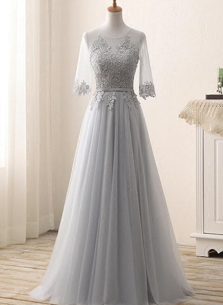 Grey 1/2 Sleeves Lace and Tulle Bridesmaid Dresses, Bridesmaid Dress 2019, Party Dresses
