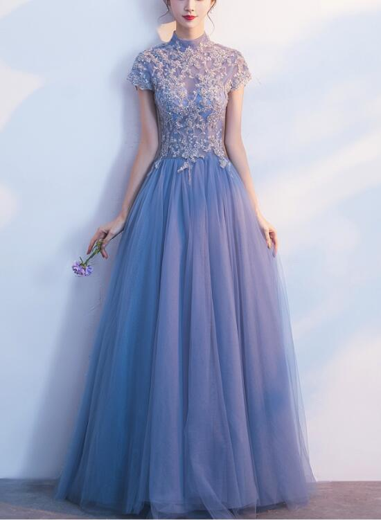 Light Blue Cap Sleeves Floor Length Party Dress Blue Formal Gowns