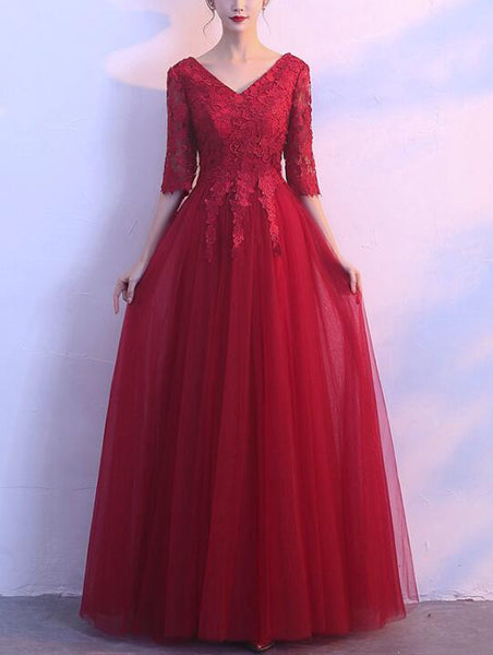 Wine Red Short Sleeves Tulle and Lace Prom Dress 2019, Lovely Formal Gown for Weddings