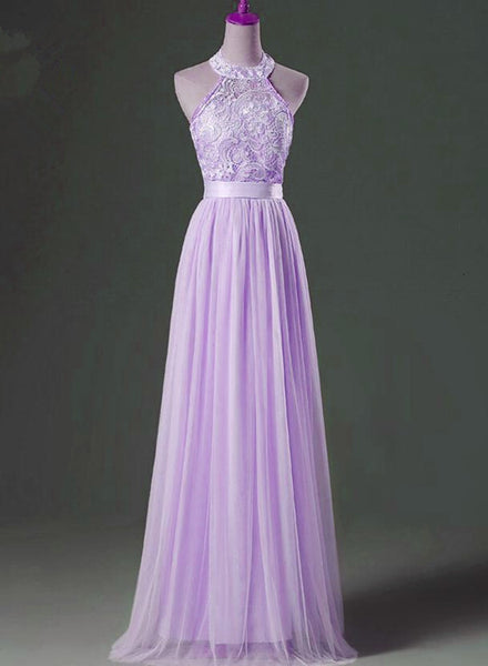Beautiful Lavender Tulle Long Formal Gown, Lace and Tulle Elegant Party Dress, Prom Dress