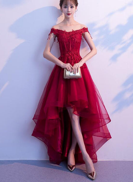 Dark Red High Low Dress, Beautiful Tulle and Lace Prom Dress, Formal Gown