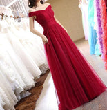 Wine Red Off Shoulder Floor Length A-line Party Dress, Charming Prom Gowns, Party Dress 2019