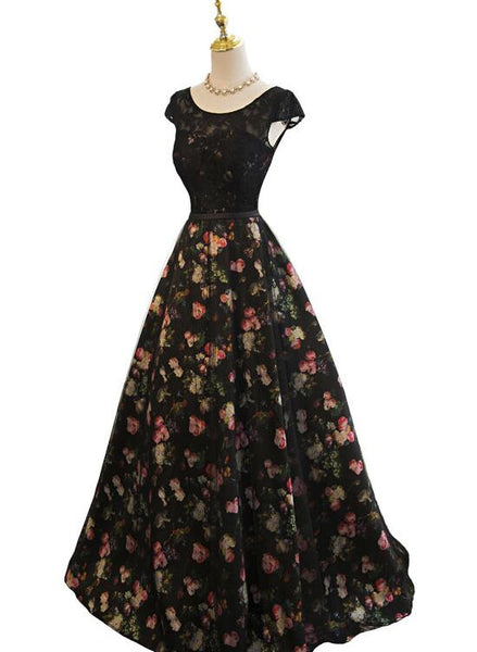 Black Floral Tulle Long Party Gown, Charming Prom Dress 2019, Party Dress 2019