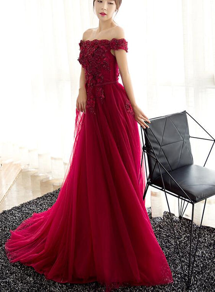 Wine Red Elegant Lace Applique Long Prom Dress 2019, Charming Formal Gown 2019