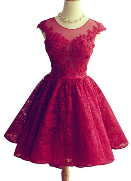 Wine Red Lace Knee Length Round Neckline Party Dress, Cute Homecoming Dresses