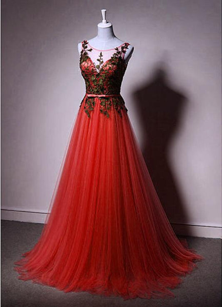 Red Tulle Formal Gown with Black Lace Applique Formal Dress 2019, Charming Prom Gown 2019