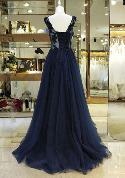 Navy Blue Lace Applique Beaded Long Formal Gown,Charming A-line Prom Dress