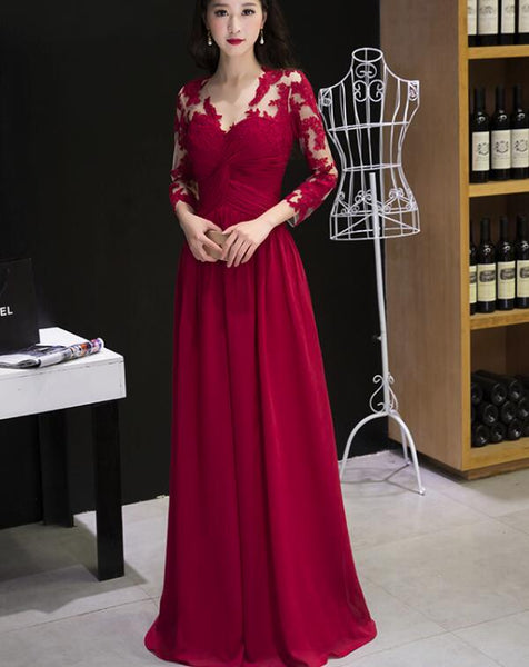 Elegant Long Wine Red Applique A-line Senior Prom Dress, Charming Formal Gown 2019