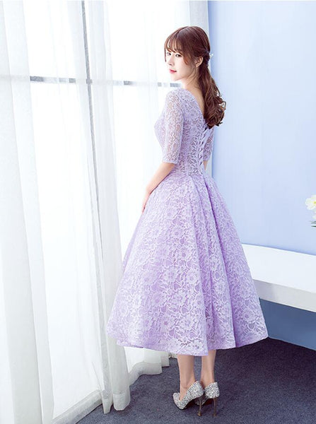 Beautiful Lace Short Sleeves Tea Length Wedding Party Dress, Cute Prom Dress