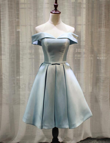 Light Blue Off Shoulder Knee Length Bridesmaid Dress, High Quality Prom Dresses