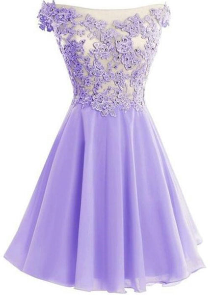 Lavender Chiffon Cap Sleeve Off Shoulder Short Party Dress, Lovely Formal Dress 2019
