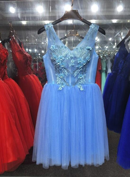 Lovely Blue Tulle Knee Length V-neckline Party Dress, Cute Formal Dress 2019