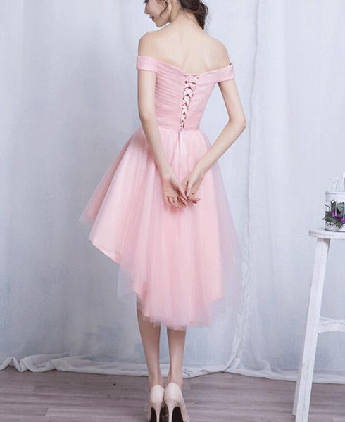 Off Shoulder Tulle Simple High Low Homecoming Dress, Lovely Senior Prom Dress