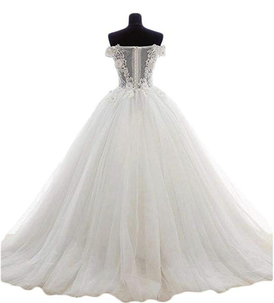 White Tulle and Lace Applique Off Shoulder Wedding Gown, Beautiful Sweet 16 Dresses