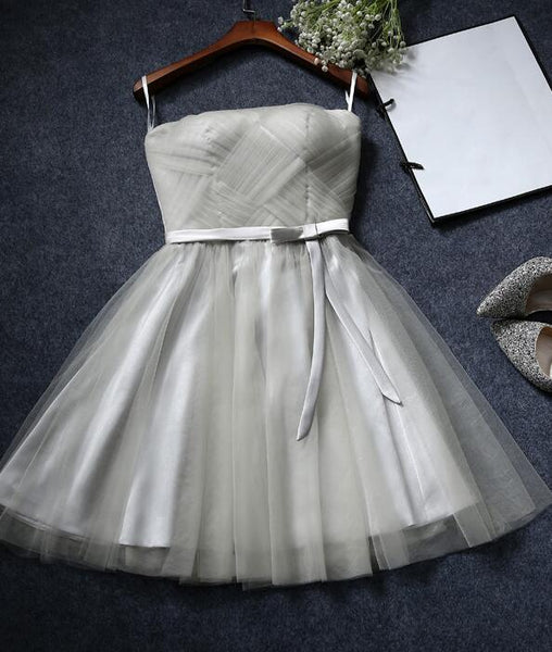 Cute  Tulle Knee Length Party Dress with Bow, Cute Formal Dress 2019