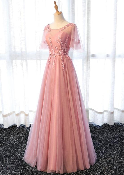 Pink Tulle Elegant Party Dress Long, Handmade Formal Gowns 2019, Prom Dress
