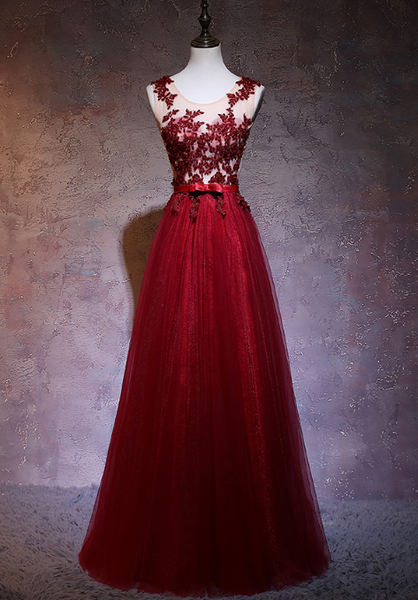 Beautiful Wine Red Tulle Long Party Gowns, Dark Red Applique Floor Length Prom Dress