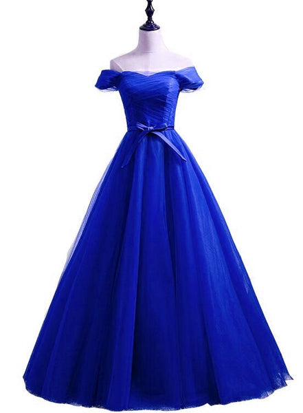 Blue Tulle Off Shoulder Sweetheart Floor Length Party Dress, Handmade Formal Dress 2019