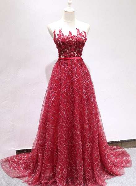 Beautiful Dark Red Long Charming Party Gowns, Lovely Long Prom Dress 2019