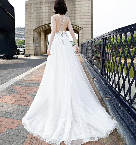 Beautiful White Straps Cross Back Long Tulle Formal Gown, Sexy Party Gown 2019
