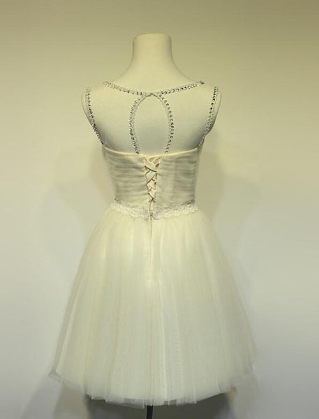 Lovely Champagne Tulle Round Neckline Party Dress, Cute Teen Formal Dress