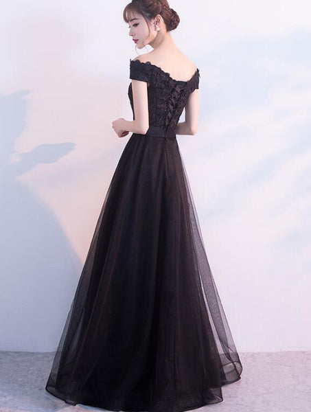 Beautiful Black Off Shoulder Lace and Tulle Party Dress, Charming Formal Gown 2019