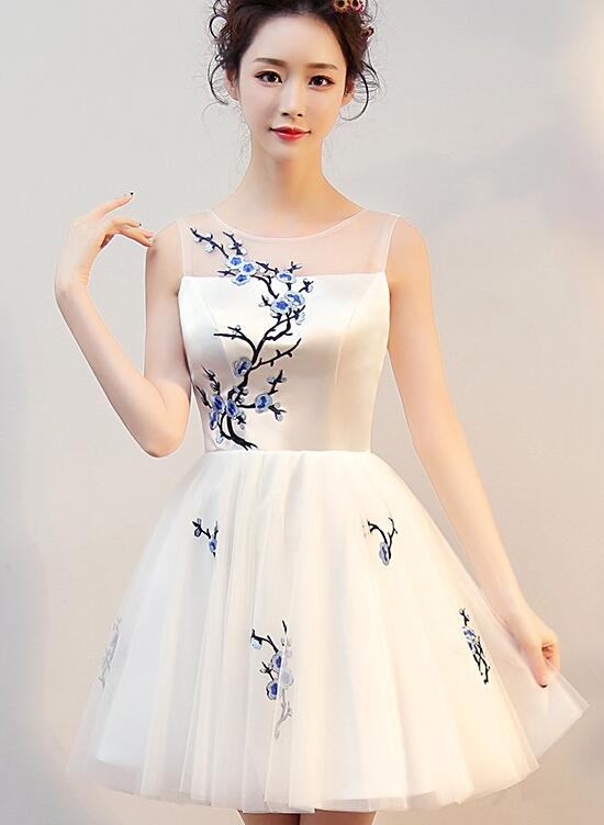 a68f4964e11 Beautiful White Short Tulle with Blue Embroidery Graduation Dress, New  Formal Dress 2019