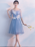 Blue short tulle bridesmaid dress