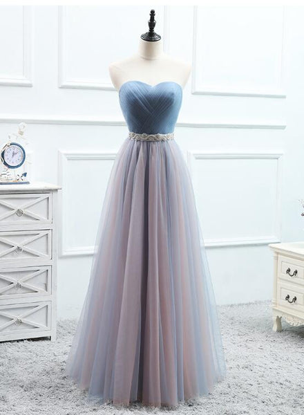 blue tulle bridesmaid dress with belt